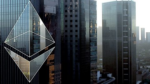 Ethereum in front of a cityscape