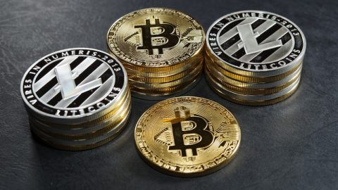 A picture of Litecoins and Bitcoins