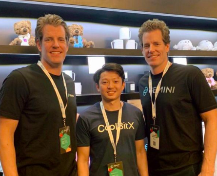 Gemini's Winklevoss brothers with CoolBitX CEO Michael Ou