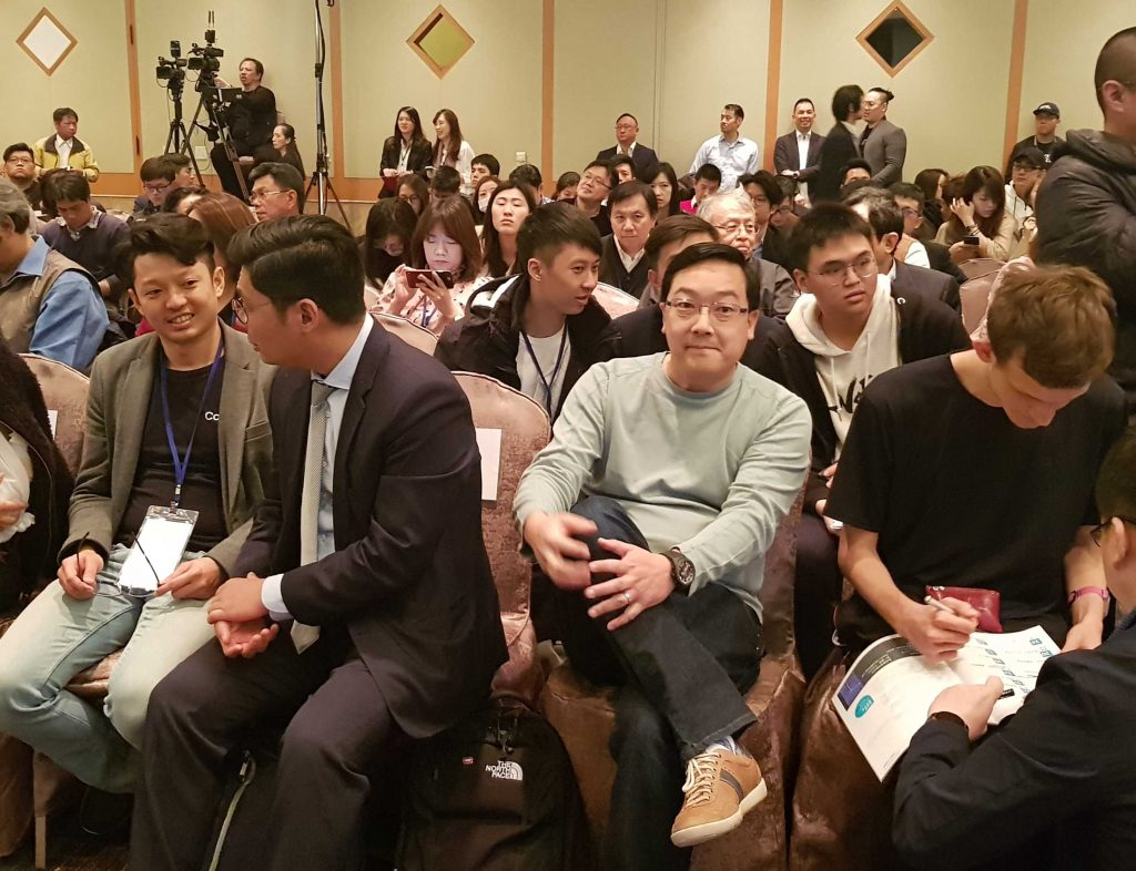 CoolBitX CEO Michael Ou, Taiwan congressman Jason Hsu, Litecoin creator Charlie Lee and Ethereum co-creator Vitalik Buterin at a 2019 Ethereum conference in Taipei, Taiwan. (Source: coolwallet.io)