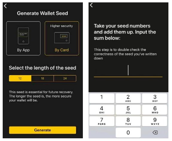 Generate wallet seed by Card and verify Checksum
