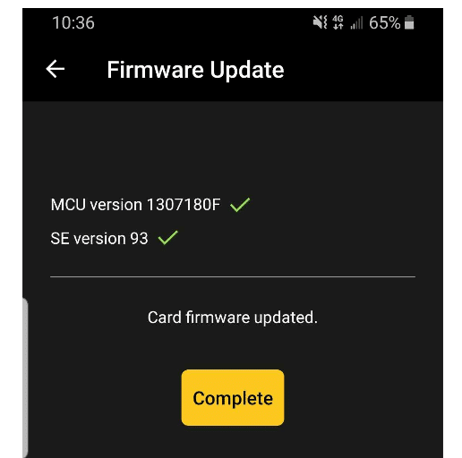 coolwallet firmware update completed